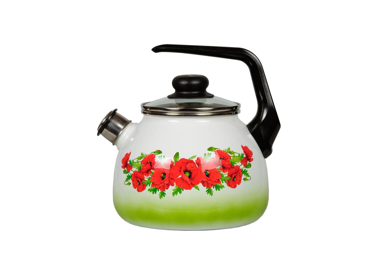 Чайник эмалированный со свистком Восточный мак 3 литра