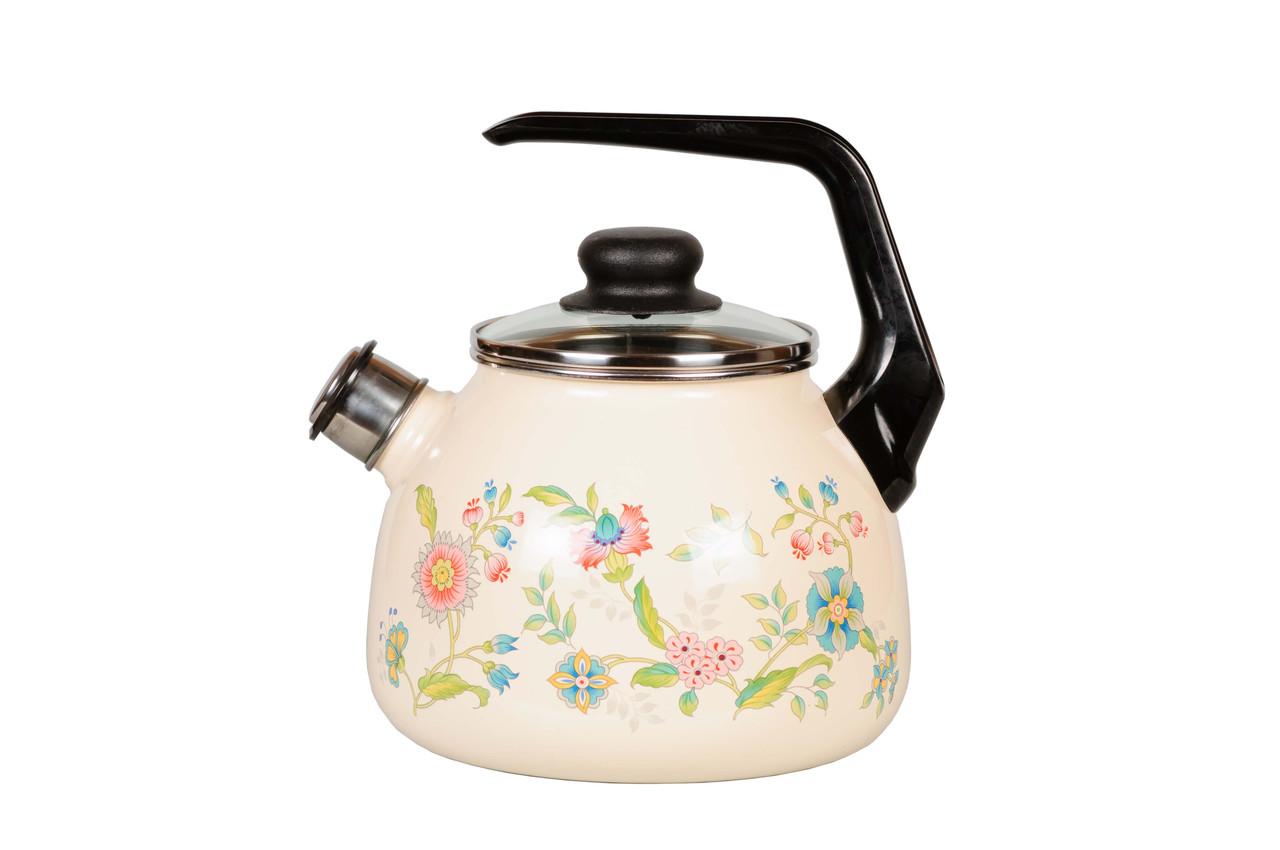 Чайник эмалированный со свистком Луговые цветы 3 литра