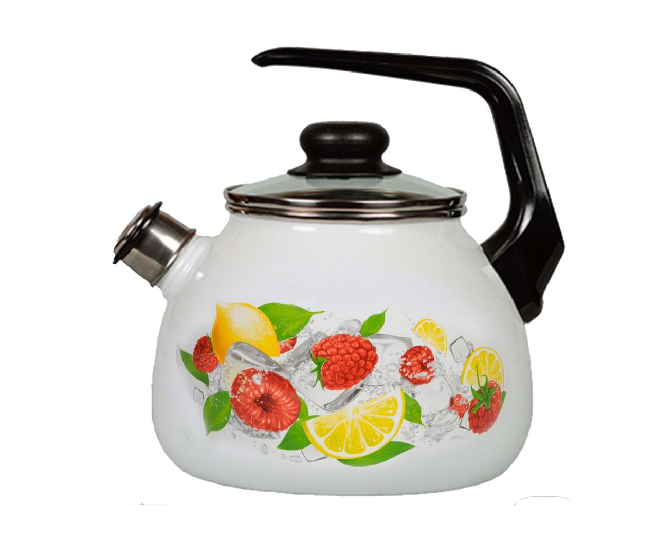 Чайник эмалированный со свистком Лимон 3 литра