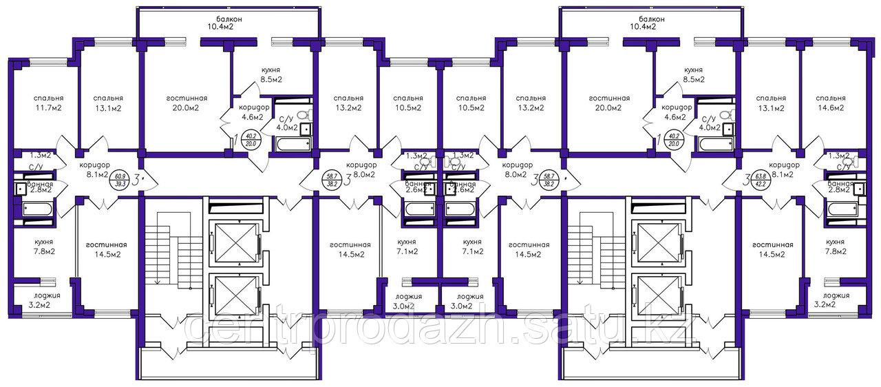 1 комнатная квартира в ЖК Кутты Мекен 41.5 м²