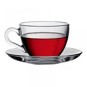 Набор стеклянных кружек с блюдцами для чая и кофе MARJAN KAVEN [6 персон]