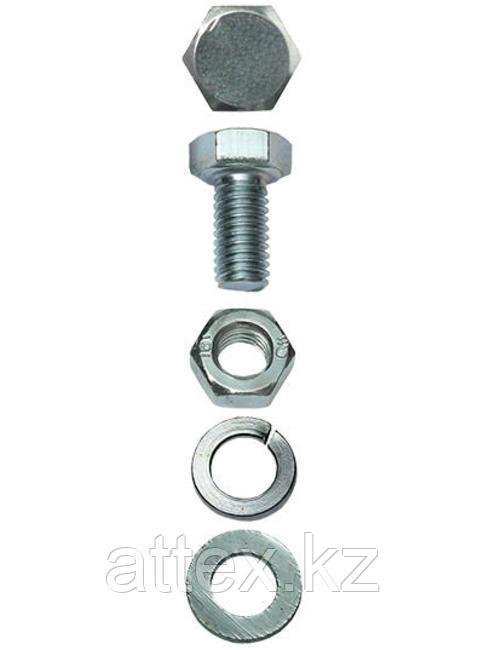 Болт (DIN933) в комплекте с гайкой (DIN934), шайбой (DIN125), шайбой пруж. (DIN127), M10 x 50 мм, 2 шт, ЗУБР
