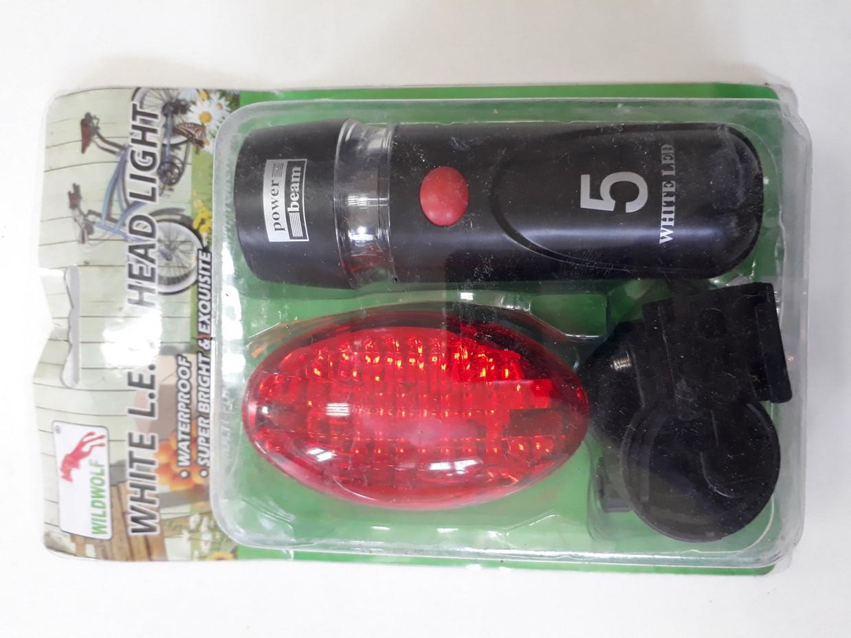 Набор фонариков - передний и задний на батарейках Wildwolf
