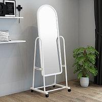 Зеркало напольное 160х45 см на колесиках цвет белый