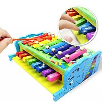Деревянная игрушка 2 в 1 - Ксилофон и Пианино