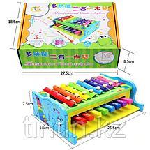 Деревянная игрушка 2 в 1 - Ксилофон и Пианино, фото 3