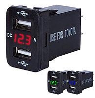 USB кнопка зарядное устройство с вольтметром для Toyota