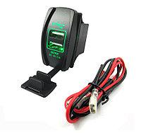 Автомобильное USB зарядное устройство в виде авто кнопки Зеленый