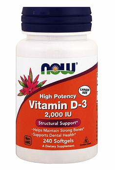 Now Foods, Витамин D-3, 2000 МЕ, 240 мягких таблеток