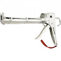 "Пистолет для герметика, 310 мл, ""полуоткрытый"", хромир., зубчатый шток 7 мм Matrix"