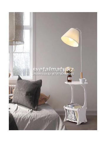 Одноламповый торшер белый со встроенным столиком