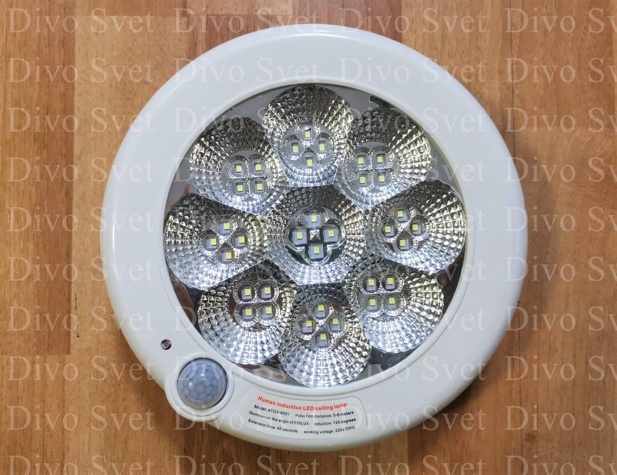 Светодиодный светильник ЖКХ 20W, с датчиком движения. Настенный, потолочный накладной с датчиком LED 20 Вт.