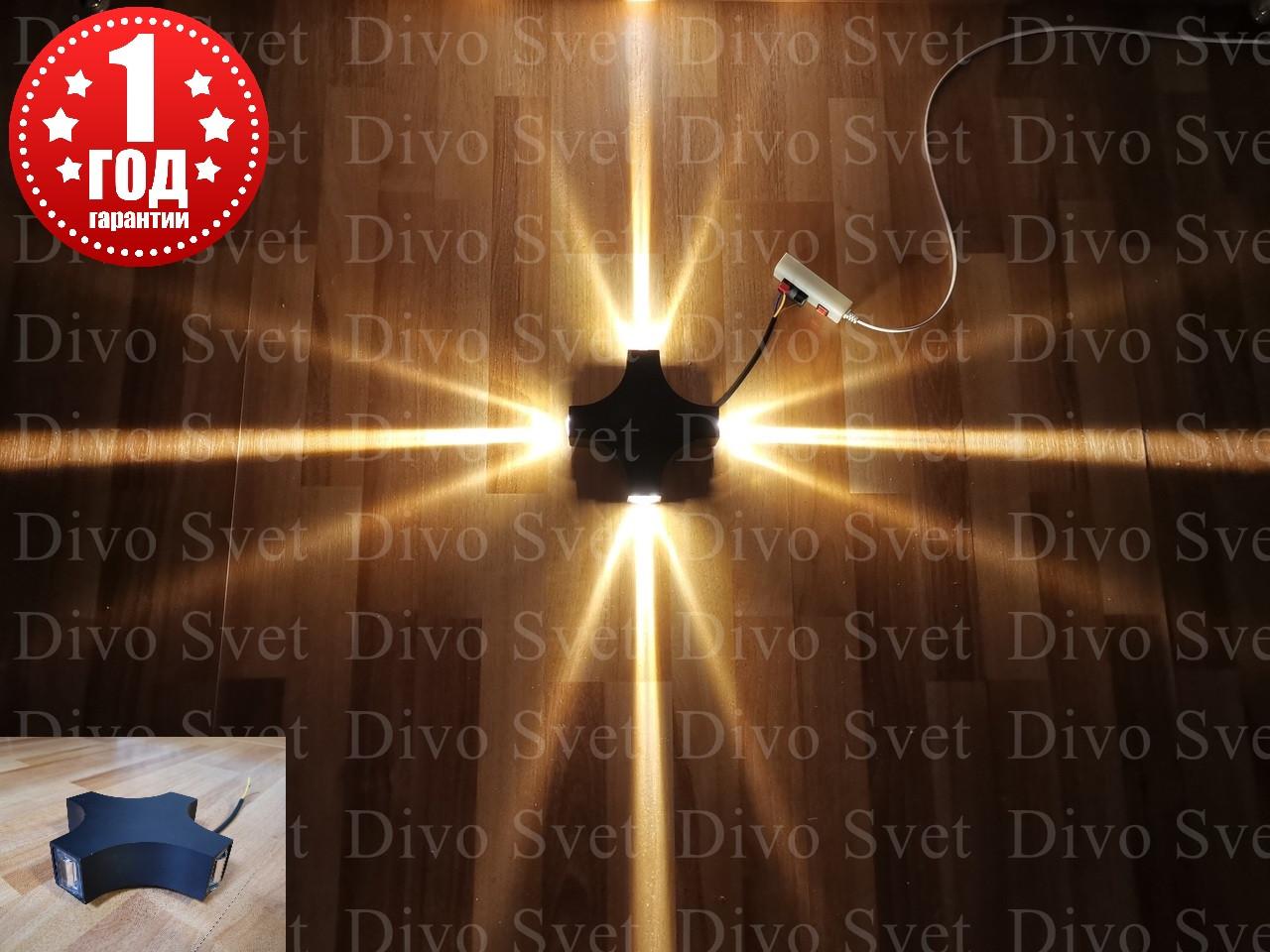 """LED светильник """"Луч Четырёхсторонний"""" 12W, 4000К, 6500К. Светодиодный архитектурный узконаправленный с линзами"""
