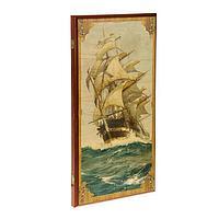 """Нарды """"Морские"""", деревянная доска 60х60 см, с полем для игры в шашки, фото 1"""