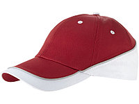 Бейсболка Draw 6-ти панельная, красный/белый