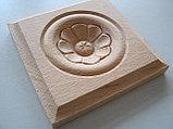 F - 5(b). Розетка деревянная квадратная с цветком (50*50), фото 2