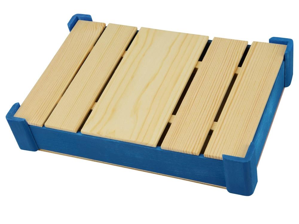 Подарочная деревянная коробка, синий - фото 1