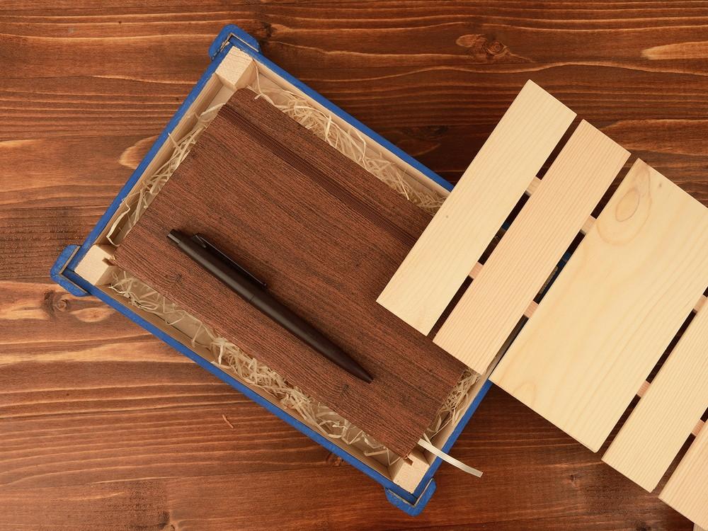 Подарочная деревянная коробка, синий - фото 2