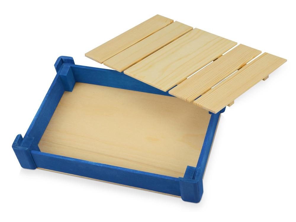 Подарочная деревянная коробка, синий - фото 3