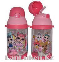 Бутылочка для воды 400 мл с трубочкой с принтом LOL surprise куклы в ассортименте