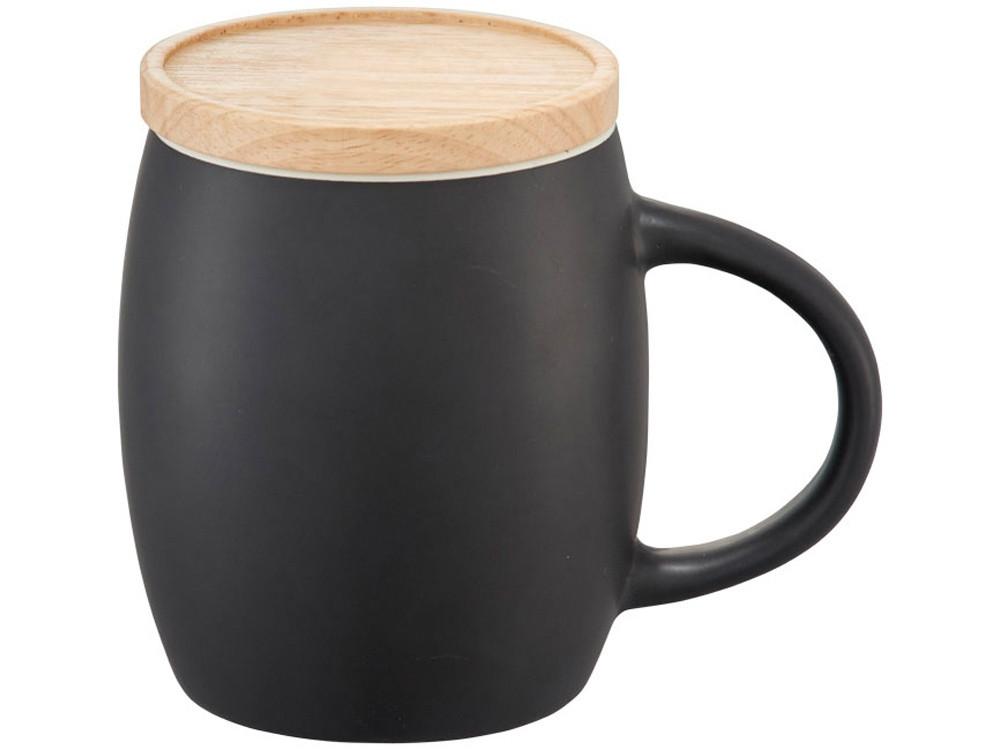 Керамическая чашка Hearth с деревянной крышкой-костером, черный/белый - фото 2