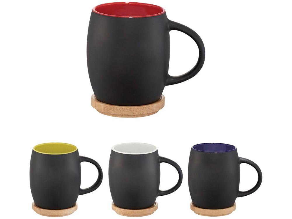 Керамическая чашка Hearth с деревянной крышкой-костером, черный/белый - фото 5