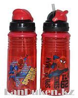 Бутылочка для воды 400 мл с трубочкой с принтом Человека Паука в ассортименте