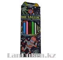 Набор цветных карандашей 6 шт трехгранные большие Color Pencils + точилка
