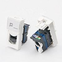 Shelbi Розеточный модуль Cat 6 UTP с лицевой панель со шторкой 45х22.5 mm, фото 1
