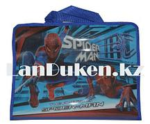 Детская папка-портфель с тканными ручками Человек Паук формат A4 синяя L4310