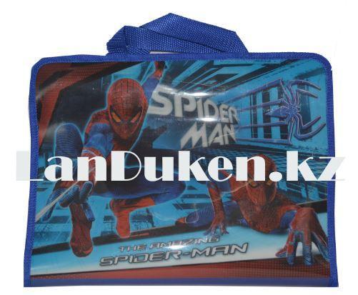 Детская папка-портфель с тканными ручками Человек Паук формат A4 синяя L4310 - фото 1