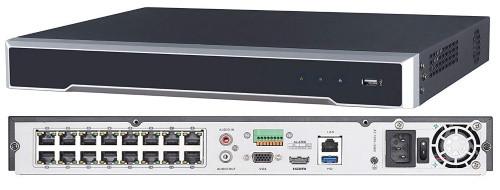 DS-7616NI-K2/16P - 16-ти канальный сетевой 4К-видеорегистратор с 16-ю PoE-портами.
