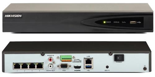 DS-7604NI-E1/4P - 4-х канальный сетевой  6MP-видеорегистратор с 4-мя PoE-портами.