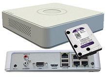 DS-7104NI-SN/P + WD10PURX - Комплект 4-х канального сетевого 2MP-видеорегистратора и жёсткого диска WD-1тБ.
