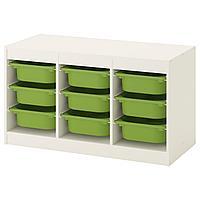 Стеллаж для игрушек ТРУФАСТ белый, зеленый ИКЕА, IKEA, фото 1