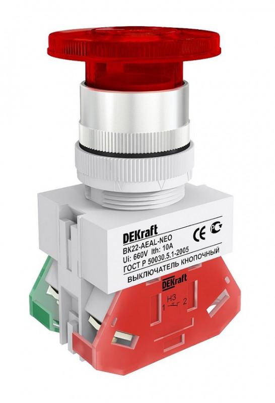 Кнопка  AEAL ВК-22 мм красный 1НО+1НЗ LED 220В