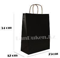Подарочный пакет чёрный (для брендирования)34х25х12см