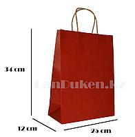 Подарочный пакет красный(для брендирования) 34х25х12см