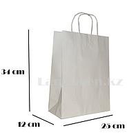 Подарочный пакет белый (для брендирования) 34х25х12см