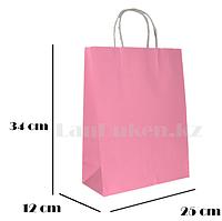 Подарочный пакет розовый (для брендирования) 34х25х12см