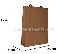 Подарочный пакет картонный ручки шнурованные (для брендирования) 34х25х8см