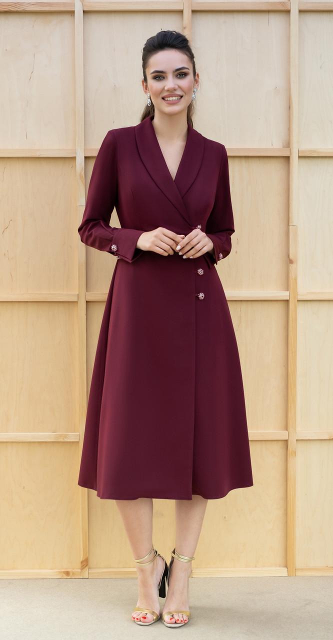 Платье Юрс-19-204-1, марсала, 44