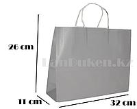 Подарочный пакет серый (для брендирования) 26х32х11см