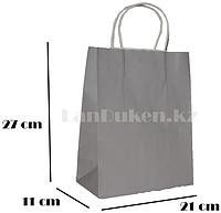Подарочный пакет серый (для брендирования) 27х21х11см