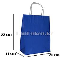 Подарочный пакет синий (для брендирования) 27х21х11см