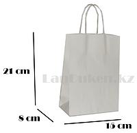 Подарочный пакет белый (для брендирования) 21х15х8см