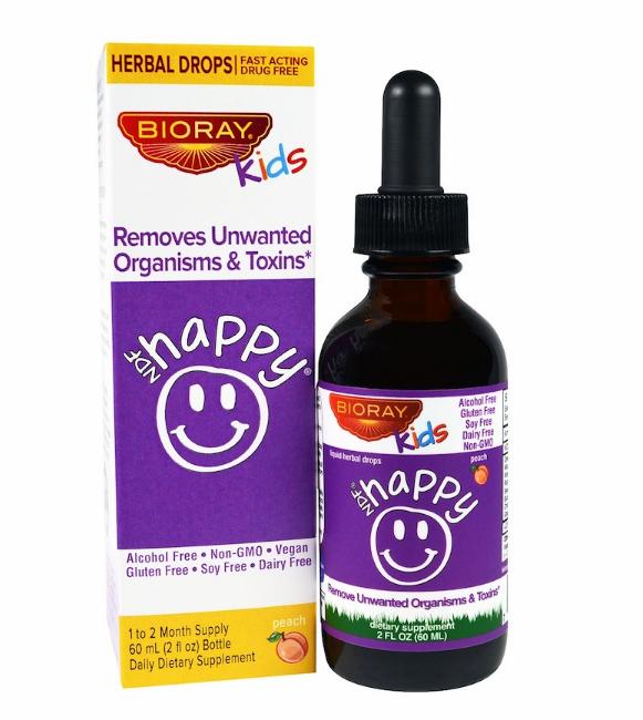 """Bioray Inc., NDF """"Счастье"""", выводит нежелательные микроорганизмы и токсины, для детей, персиковый вкус, 2 жид."""