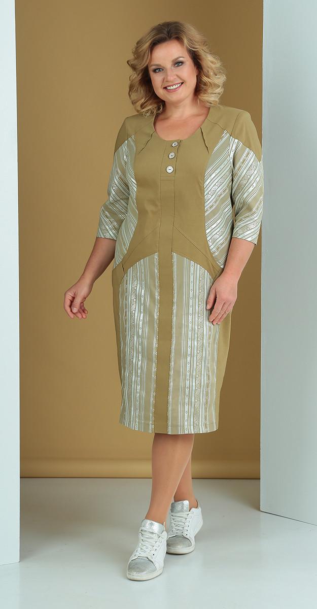 Платье Novella Sharm-3313, зелень+полоски, 56