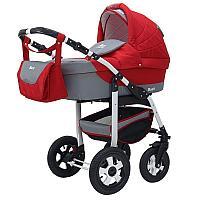 Детская коляска 2 в 1 Bart-Plast Bari (02 красный-серый)