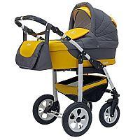 Детская коляска 2 в 1 Bart-Plast Bari (05 серый-желтый)
